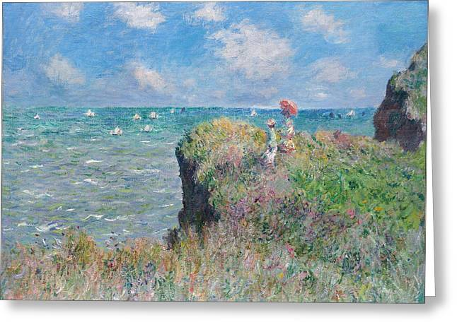 Pourville Greeting Cards - Clifftop Walk at Pourville Greeting Card by Claude Monet