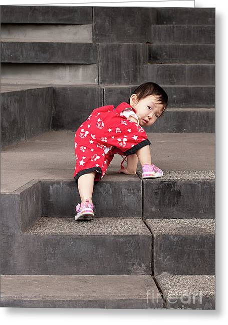 Toddler Girl Greeting Cards - Climber 01 Greeting Card by Rick Piper Photography