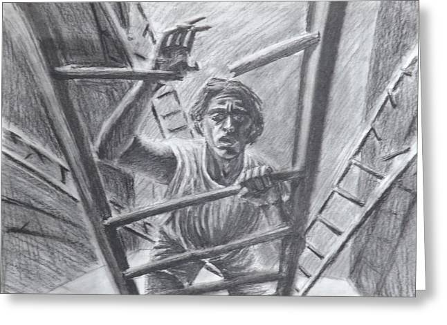 Self-portrait Greeting Cards - Climbing A Broken Ladder  Greeting Card by Jon Became the Anti-Christ