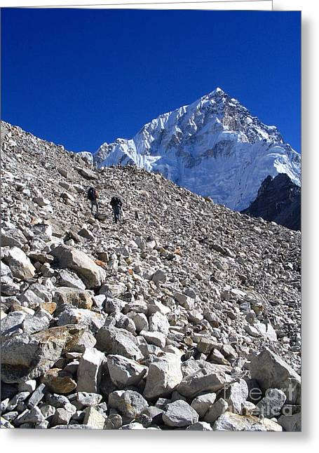 Mt Everest Base Camp Greeting Cards - Climbing Glacier Greeting Card by Tim Hester