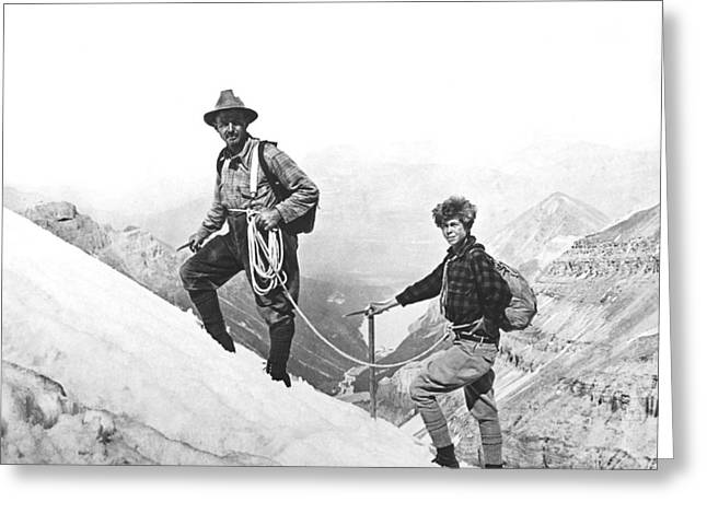 Ascending Risen Greeting Cards - Climbing In The Rockies Greeting Card by Underwood Archives