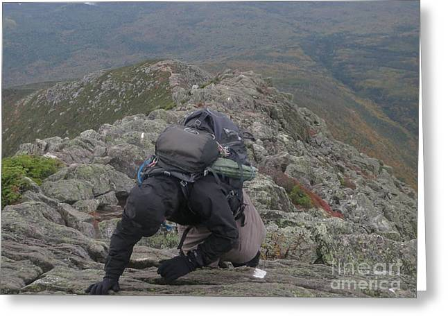 Jonathan Welch Greeting Cards - Climbing Mt. Katahdin Greeting Card by Jonathan Welch