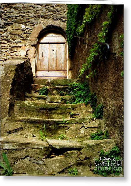 Lainie Wrightson Greeting Cards - Climbing Old Stairs Greeting Card by Lainie Wrightson
