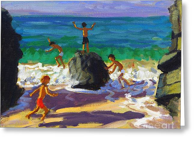 Playful Greeting Cards - Climbing rocks Porthmeor beach St Ives Greeting Card by Andrew Macara