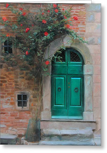 Archway Greeting Cards - Climbing Roses Cortona Italy Greeting Card by Anna Rose Bain
