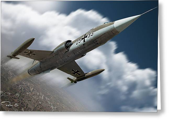 Starfighter Greeting Cards - Climbing starfighter Greeting Card by Peter Scheelen