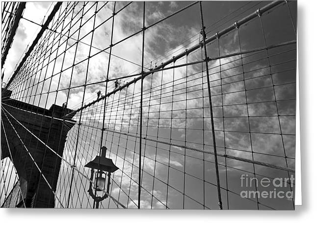Geometry And Diagonals Greeting Cards - Climbing the bridge Greeting Card by Delphimages Photo Creations