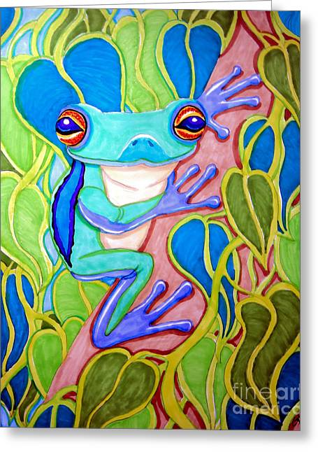 Tree Frogs Greeting Cards - Climbing Tree Frog Greeting Card by Nick Gustafson