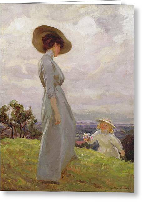 Edwardian Greeting Cards - Climbing Up The Hillside Oil On Canvas Greeting Card by Frederick Stead