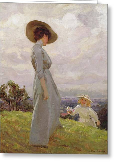 Climbing Up The Hillside Greeting Card by Frederick Stead