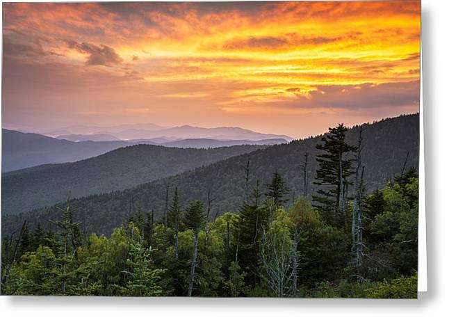 Gsmnp Greeting Cards - Clingmans Dome Great Smoky Mountains - Purple Mountains Majesty Greeting Card by Dave Allen