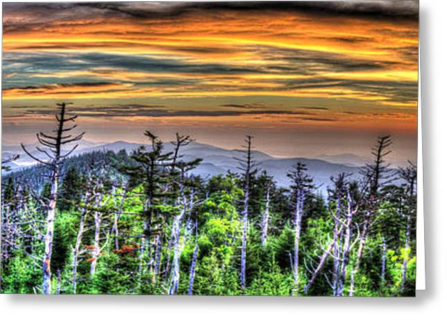 Gatlinburg Tennessee Greeting Cards - Clingmans Sunset Panoramic Greeting Card by Mark Bowmer
