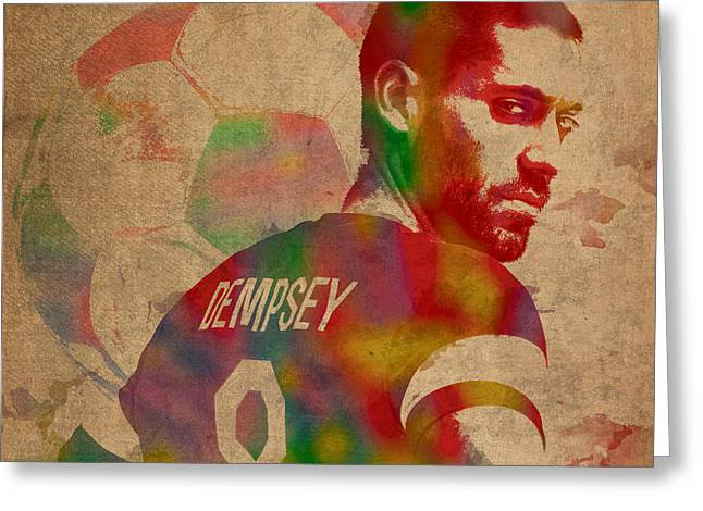 Dempsey Greeting Cards - Clint Dempsey Soccer Player USA Football Seattle Sounders Watercolor Portrait on Worn Canvas Greeting Card by Design Turnpike