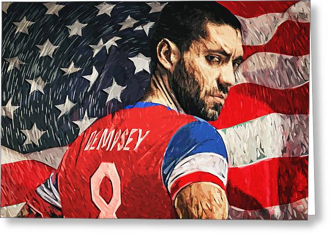 Player Digital Greeting Cards - Clint Dempsey Greeting Card by Taylan Soyturk
