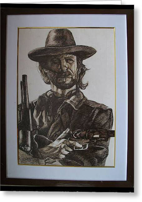 Famous Tapestries - Textiles Greeting Cards - Clint Eastwood Greeting Card by Akil