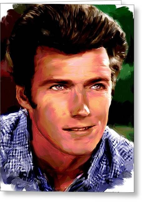 Allen Glass Greeting Cards - Clint Eastwood Greeting Card by Allen Glass