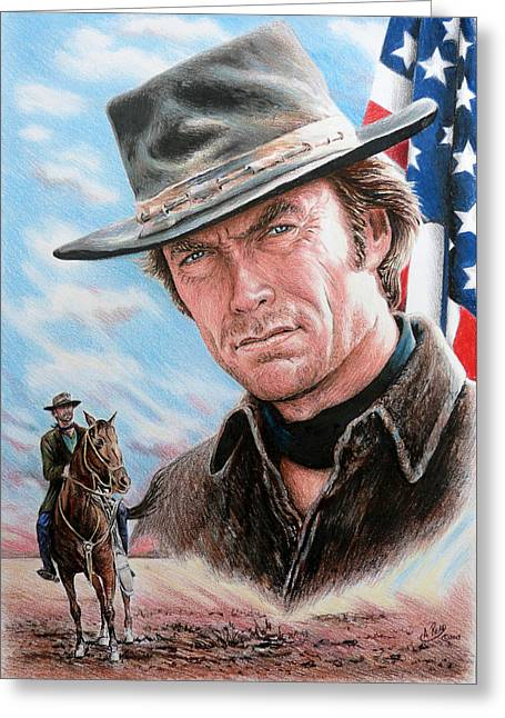 4th July Drawings Greeting Cards - Clint Eastwood American Legend Greeting Card by Andrew Read