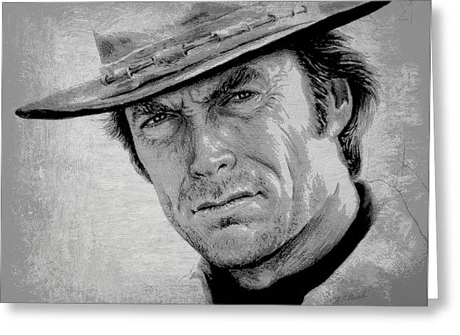 White Beard Greeting Cards - Clint Eastwood Greeting Card by Andrew Read