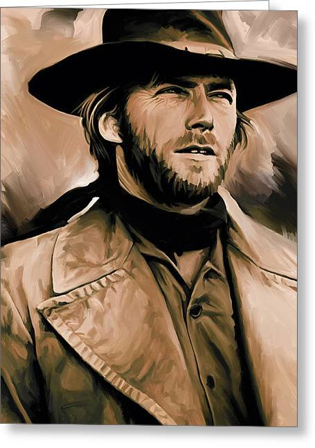 Dirty Harry Greeting Cards - Clint Eastwood Artwork Greeting Card by Sheraz A