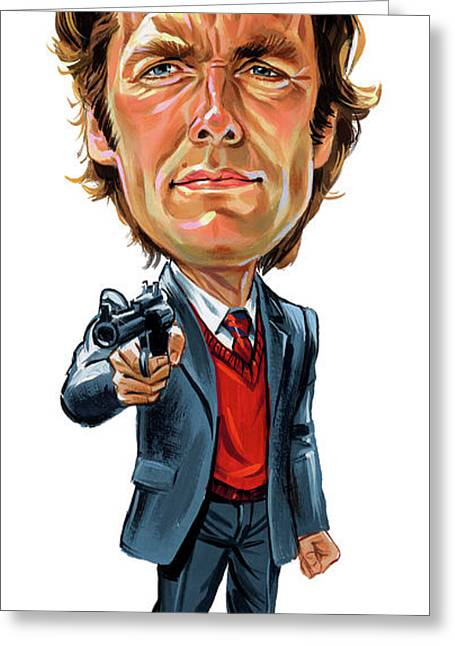 Famous Person Paintings Greeting Cards - Clint Eastwood as Harry Callahan Greeting Card by Art