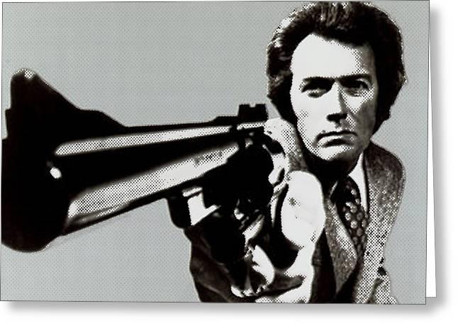 Dirty Harry Greeting Cards - Clint Eastwood Big Gun 2 Greeting Card by Tony Rubino