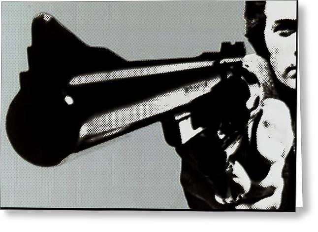 Dirty Harry Greeting Cards - Clint Eastwood Big Gun Greeting Card by Tony Rubino