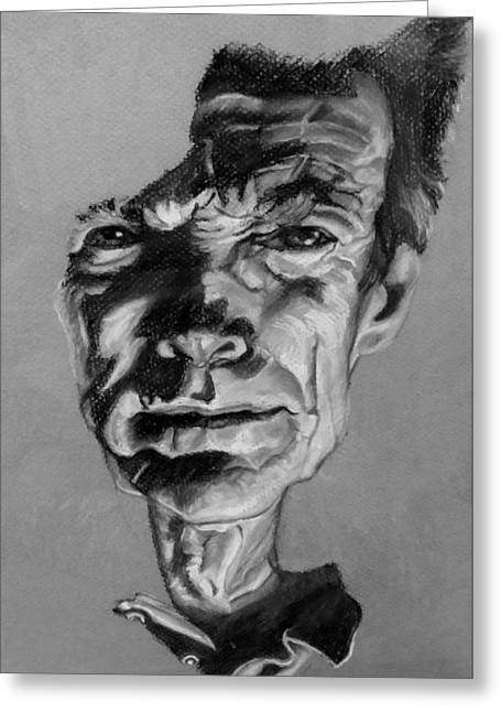 Movie Art Pastels Greeting Cards - Clint Eastwood Black And White Greeting Card by Rob Hans