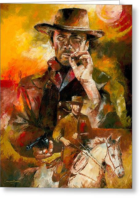 Christiaan Bekker Greeting Cards - Clint Eastwood Greeting Card by Christiaan Bekker