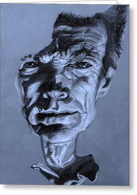Movie Art Pastels Greeting Cards - Clint Eastwood Cyan Greeting Card by Rob Hans