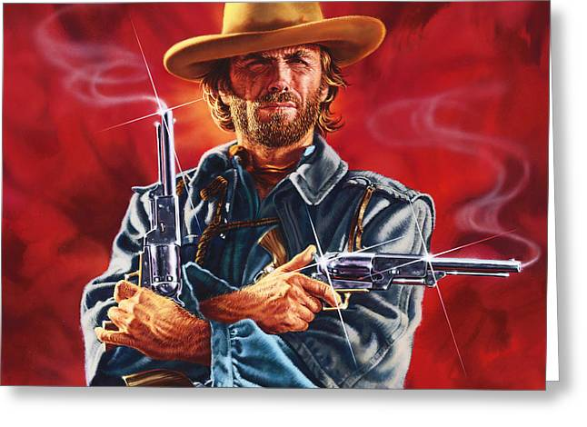 Wales Prints Greeting Cards - Clint Eastwood Greeting Card by Dick Bobnick