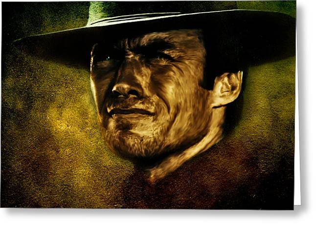 Clint Eastwood Art Greeting Cards - Clint Eastwood digital oil portrait Greeting Card by Marian Voicu