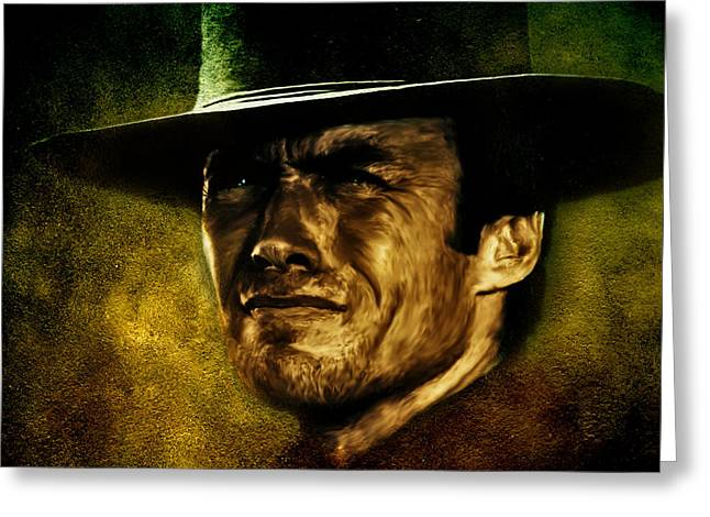 Fine Mixed Media Greeting Cards - Clint Eastwood digital oil portrait Greeting Card by Marian Voicu