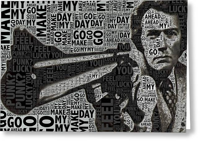 Dirty Harry Greeting Cards - Clint Eastwood Dirty Harry Crop Greeting Card by Tony Rubino