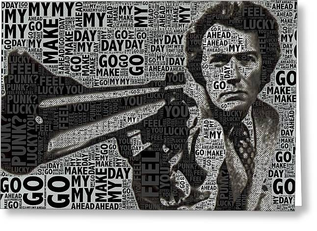 Decorating Mixed Media Greeting Cards - Clint Eastwood Dirty Harry Greeting Card by Tony Rubino