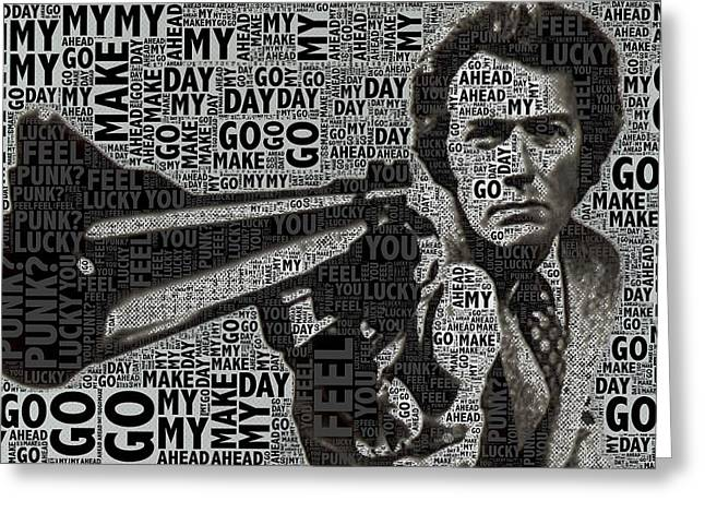 Dirty Harry Greeting Cards - Clint Eastwood Dirty Harry Greeting Card by Tony Rubino