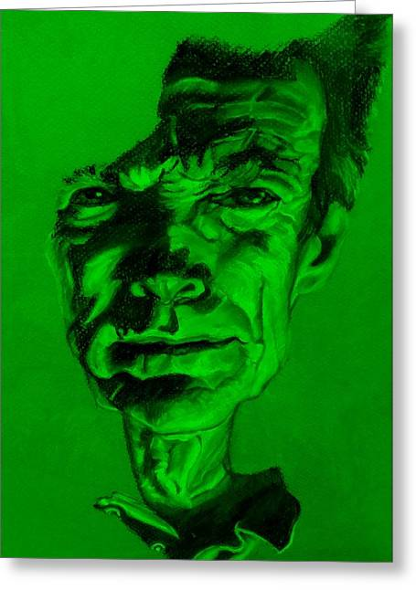 Movie Art Pastels Greeting Cards - Clint Eastwood Green Greeting Card by Rob Hans