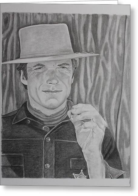 Spaghetti Drawings Greeting Cards - Clint Eastwood-Hang em High Greeting Card by Randy Mitchell