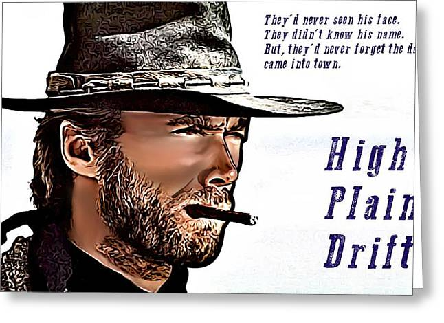 Drifter Greeting Cards - Clint Eastwood High Plains Drifter Greeting Card by James Griffin