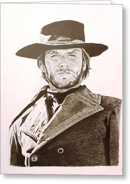 Spaghetti Drawings Greeting Cards - Clint Eastwood- High Plains Drifter Greeting Card by Randy Mitchell