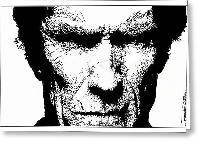 Spaghetti Drawings Greeting Cards - Clint Eastwood Greeting Card by Jerrett Dornbusch