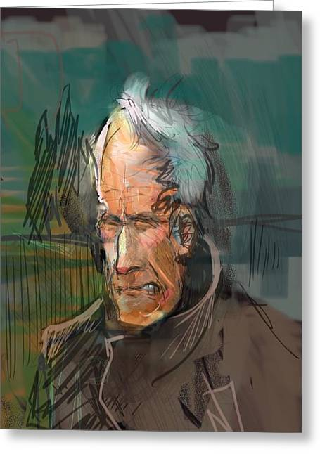 Wacom Tablet Greeting Cards - Clint Eastwood Greeting Card by Mister Duke