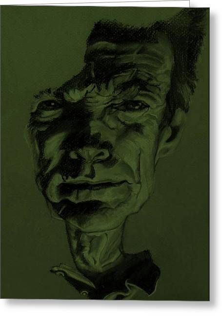 Olive Green Pastels Greeting Cards - Clint Eastwood Olive Green Greeting Card by Rob Hans