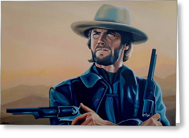 Clint Eastwood Painting Greeting Card by Paul Meijering