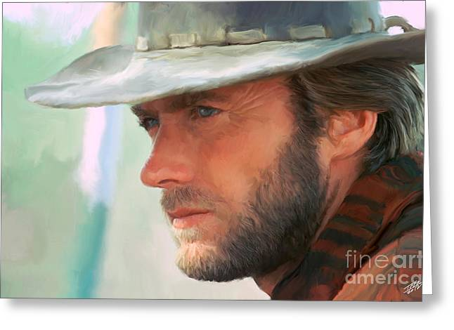 Rawhide Greeting Cards - Clint Eastwood Greeting Card by Paul Tagliamonte