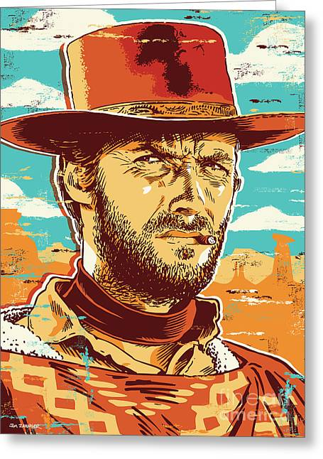 Clint Eastwood Pop Art Greeting Card by Jim Zahniser