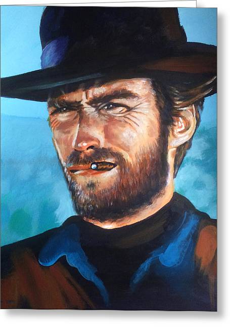 Harry Callahan Greeting Cards - Clint Eastwood Portrait Greeting Card by Robert Korhonen