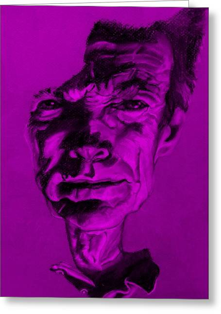 Movie Art Pastels Greeting Cards - Clint Eastwood Purple Greeting Card by Rob Hans