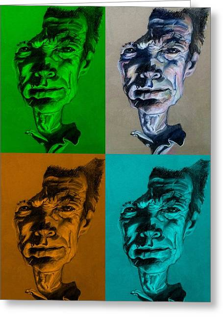 Movie Pastels Greeting Cards - Clint Eastwood Quad Colors Greeting Card by Rob Hans