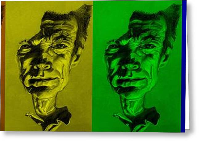 Movie Art Greeting Cards - Clint Eastwood Rainbow Greeting Card by Rob Hans