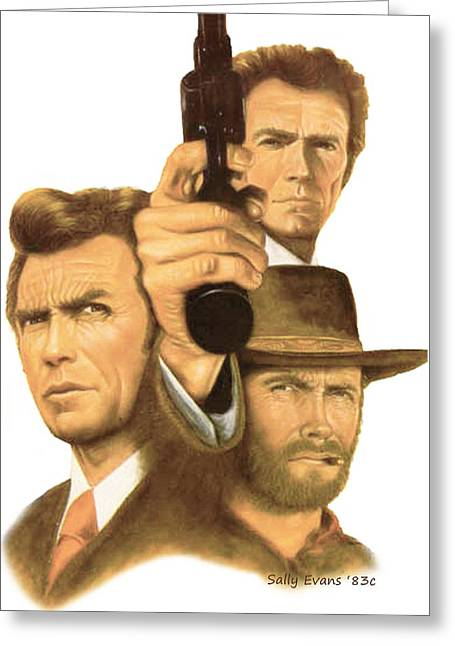 Heroes Pastels Greeting Cards - Clint Eastwood Greeting Card by Sally  Evans
